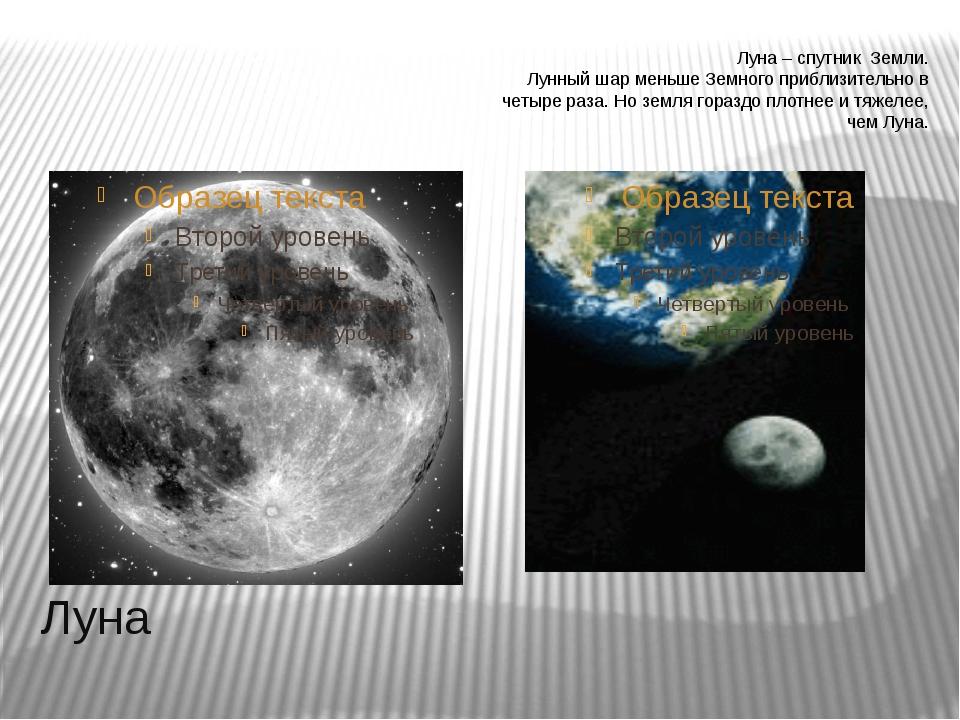 Луна Луна – спутник Земли. Лунный шар меньше Земного приблизительно в четыре...