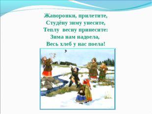 Жаворонки, прилетите, Студёну зиму унесите, Теплу весну принесите: Зима нам н