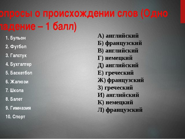 2. Вопросы о происхождении слов (Одно совпадение – 1 балл) 1. Бульон 2. Футб...