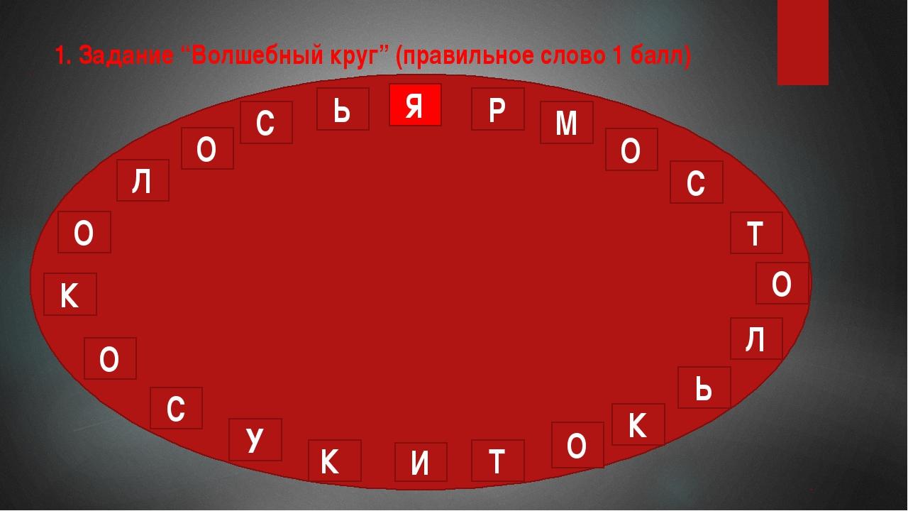 """1. Задание """"Волшебный круг"""" (правильное слово 1 балл) Я Р М О С Т О Л Ь О Л О..."""