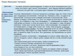 Павел Иванович Чичиков Детство Не имел знатного происхождения, в семье не был