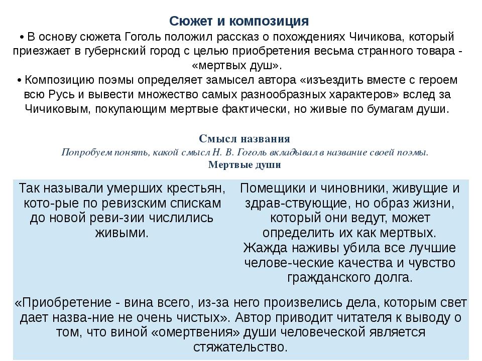 Сюжет и композиция • В основу сюжета Гоголь положил рассказ о похождениях Чи...