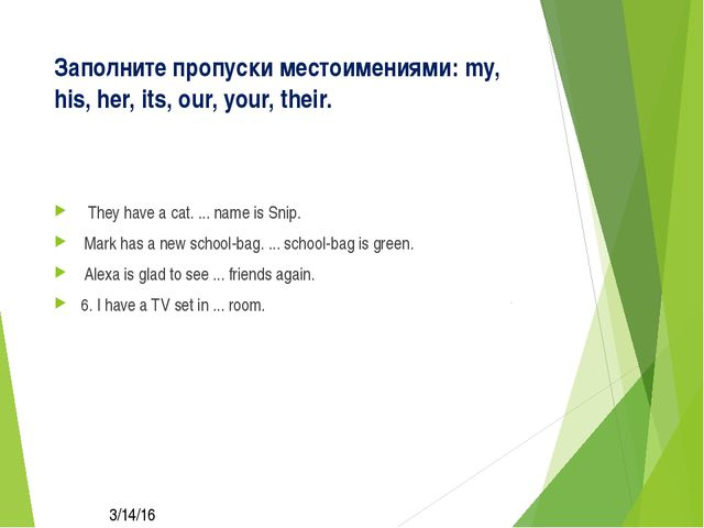 Заполните пропуски местоимениями: my, his, her, its, our, your, their. They h...