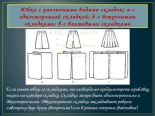 Юбки с различными видами складок: а-с односторонней складкой; б-с встречными