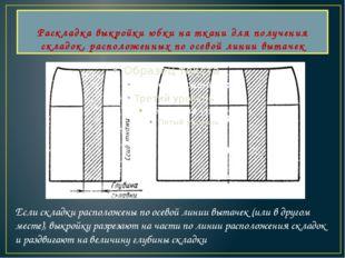 Раскладка выкройки юбки на ткани для получения складок, расположенных по осев