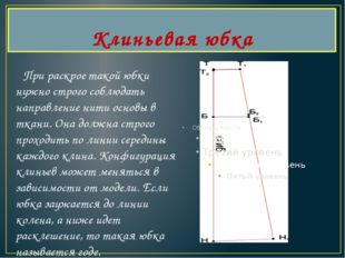 Клиньевая юбка При раскрое такой юбки нужно строго соблюдать направление нити