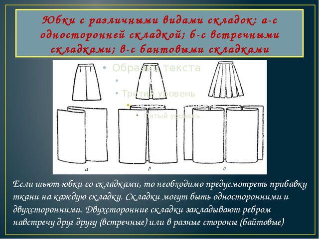 Юбки с различными видами складок: а-с односторонней складкой; б-с встречными...