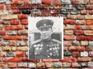 Маршал бронетанковых войск, дважды Герой Советского Союза Михаил Ефимович Кат