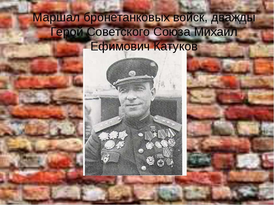 Маршал бронетанковых войск, дважды Герой Советского Союза Михаил Ефимович Кат...