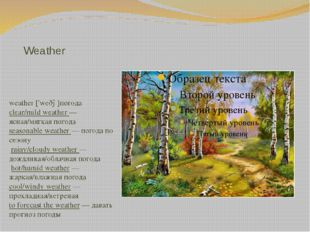 Weather weather ['weðə]погода clear/mild weather — ясная/мягкая погода season