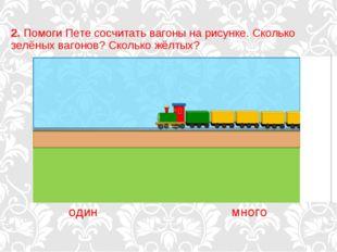 2. Помоги Пете сосчитать вагоны на рисунке. Сколько зелёных вагонов? Сколько