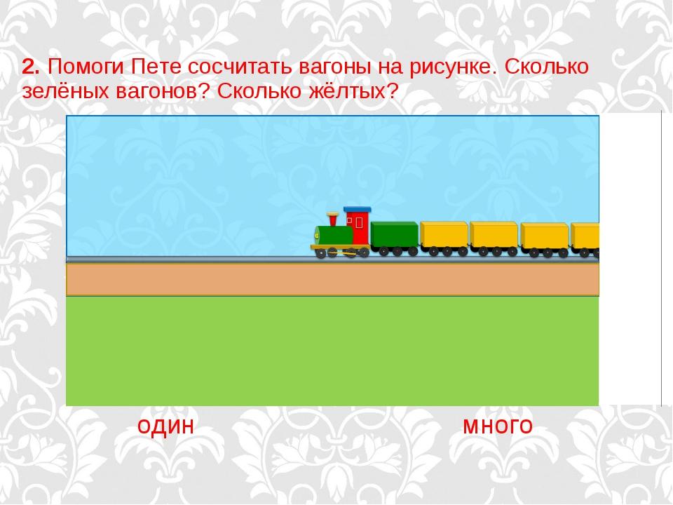 2. Помоги Пете сосчитать вагоны на рисунке. Сколько зелёных вагонов? Сколько...