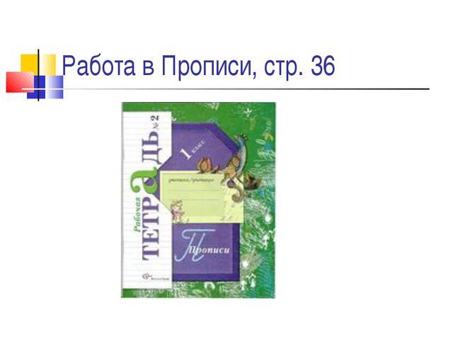 Работа в Прописи, стр. 36