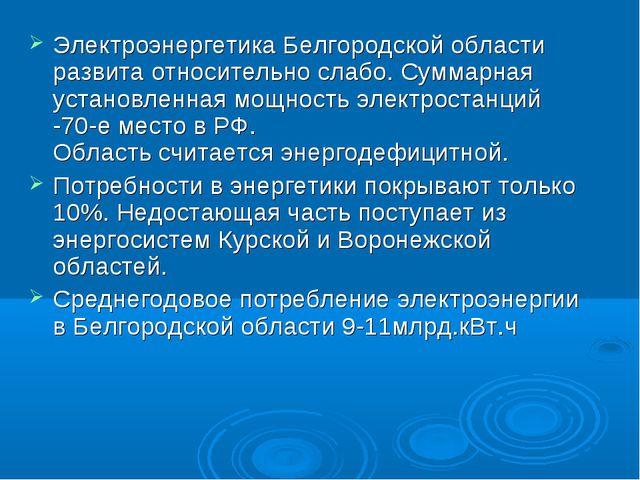 Электроэнергетика Белгородской области развита относительно слабо. Суммарная...