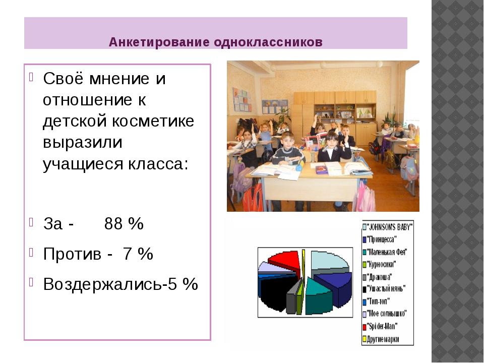 Анкетирование одноклассников Своё мнение и отношение к детской косметике выра...