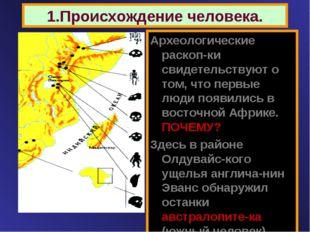 1.Происхождение человека. Археологические раскоп-ки свидетельствуют о том, чт