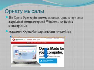 Орнату мысалы Біз Opera браузерін автоматикалық орнату арқылы жергілікті комп