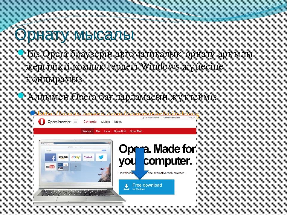 Орнату мысалы Біз Opera браузерін автоматикалық орнату арқылы жергілікті комп...