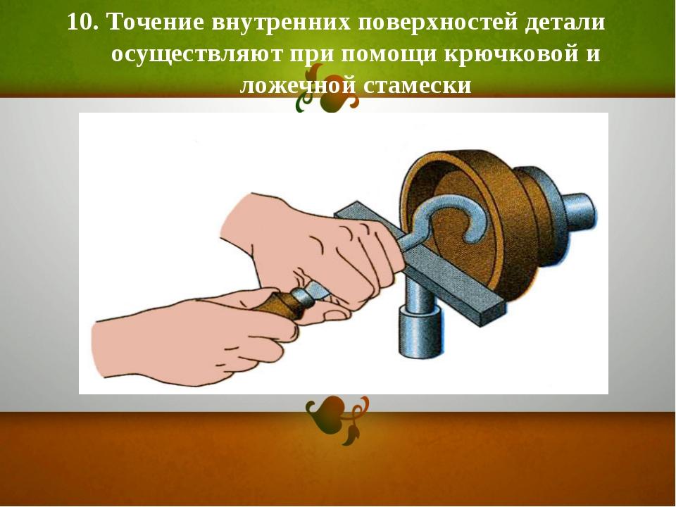 10. Точение внутренних поверхностей детали осуществляют при помощи крючковой...
