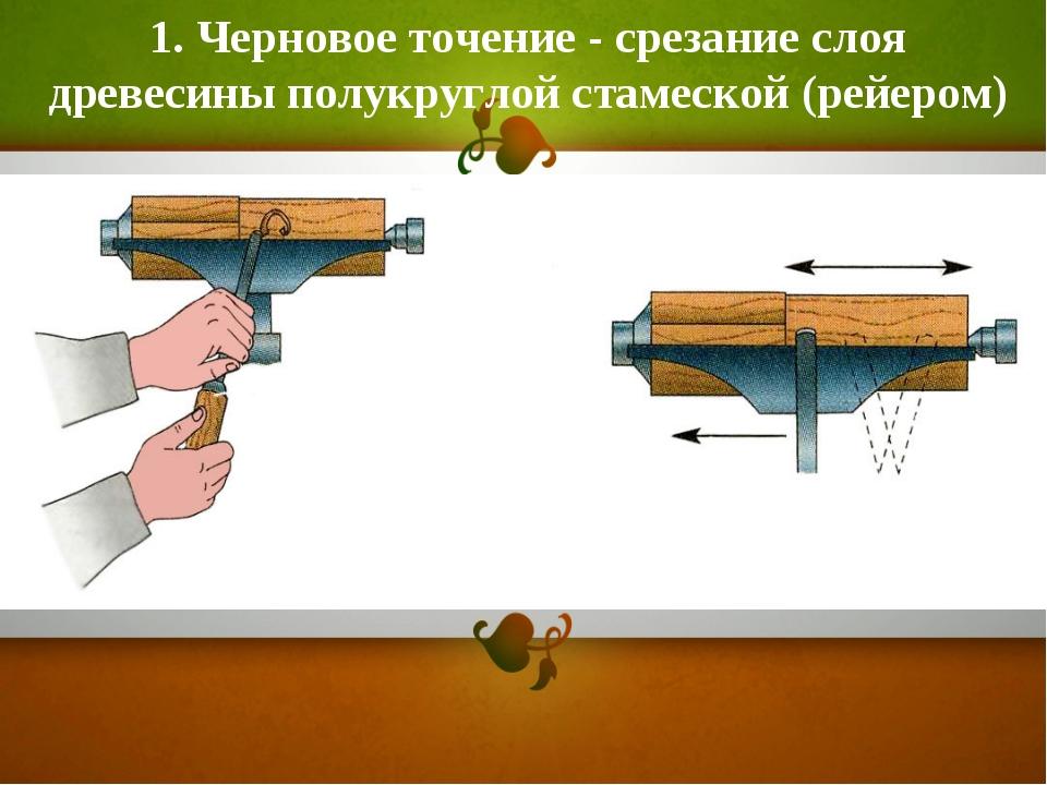 1. Черновое точение - срезание слоя древесины полукруглой стамеской (рейером)