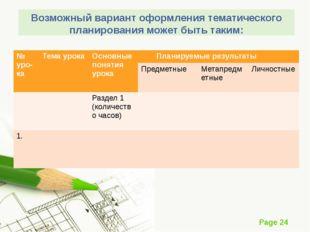 Возможный вариант оформления тематического планирования может быть таким: № у