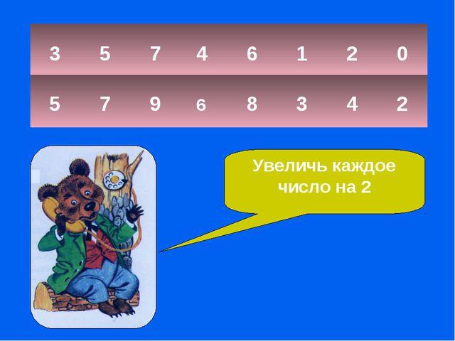 3 5 7 6 1 2 0 5 7 9 6 8 3 4 2 4 Увеличь каждое число на 2