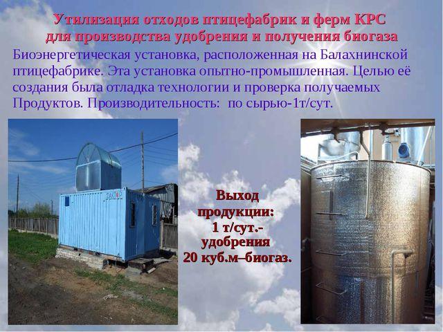 Утилизация отходов птицефабрик и ферм КРС для производства удобрения и получе...