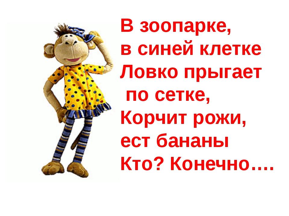 В зоопарке, в синей клетке Ловко прыгает по сетке, Корчит рожи, ест бананы К...