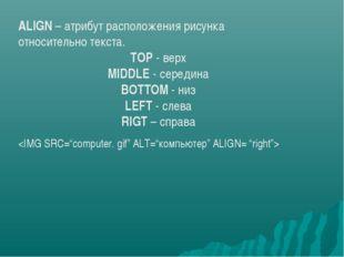 ALIGN – атрибут расположения рисунка относительно текста. TOP - верх MIDDLE
