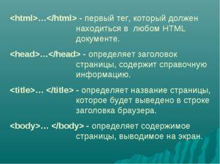 … - первый тег, который должен находиться в любом HTML документе. … -