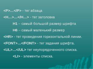 … - тег абзаца … - тег заголовка H1 – самый большой размер шрифта H6 – самы