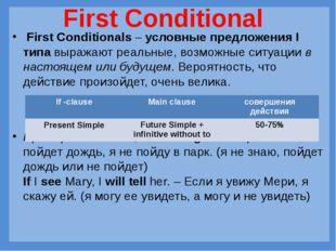 First Conditionals–условные предложения I типавыражают реальные, возможны