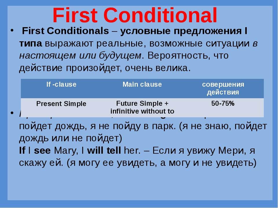 First Conditionals–условные предложения I типавыражают реальные, возможны...