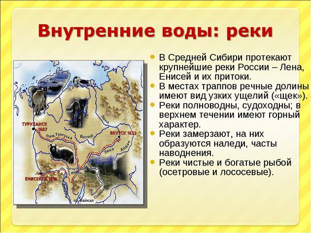 В Средней Сибири протекают крупнейшие реки России – Лена, Енисей и их притоки...