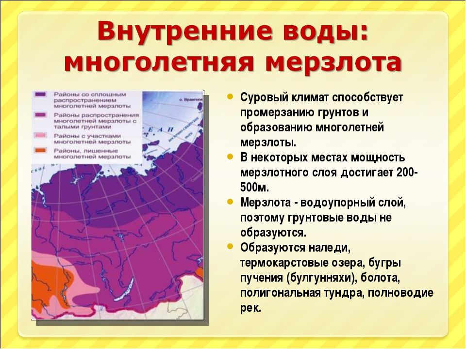 Суровый климат способствует промерзанию грунтов и образованию многолетней мер...