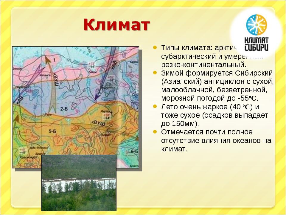 Типы климата: арктический, субарктический и умеренный резко-континентальный....