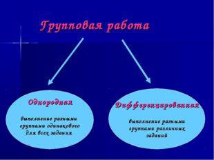 Групповая работа Однородная выполнение разными группами одинакового для всех