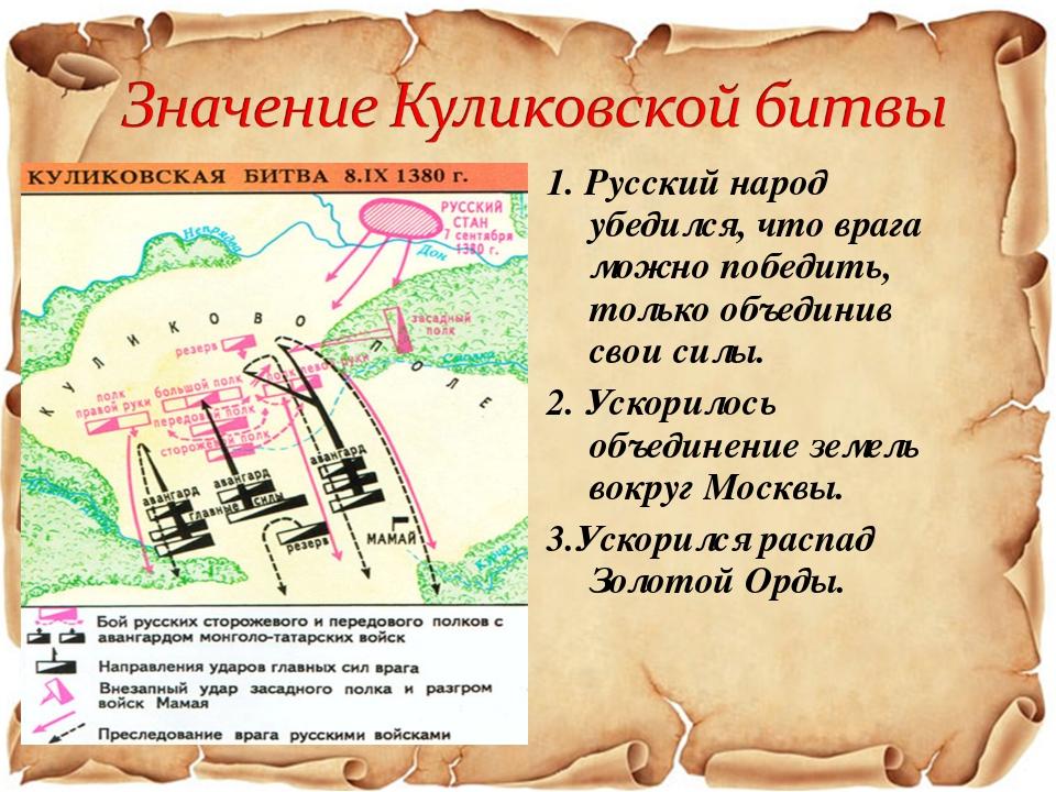 1. Русский народ убедился, что врага можно победить, только объединив свои си...