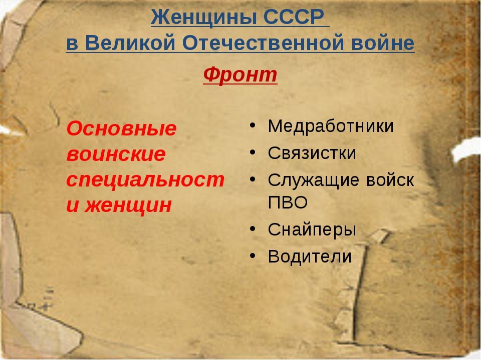Женщины СССР в Великой Отечественной войне Фронт  Основные воинские специал...