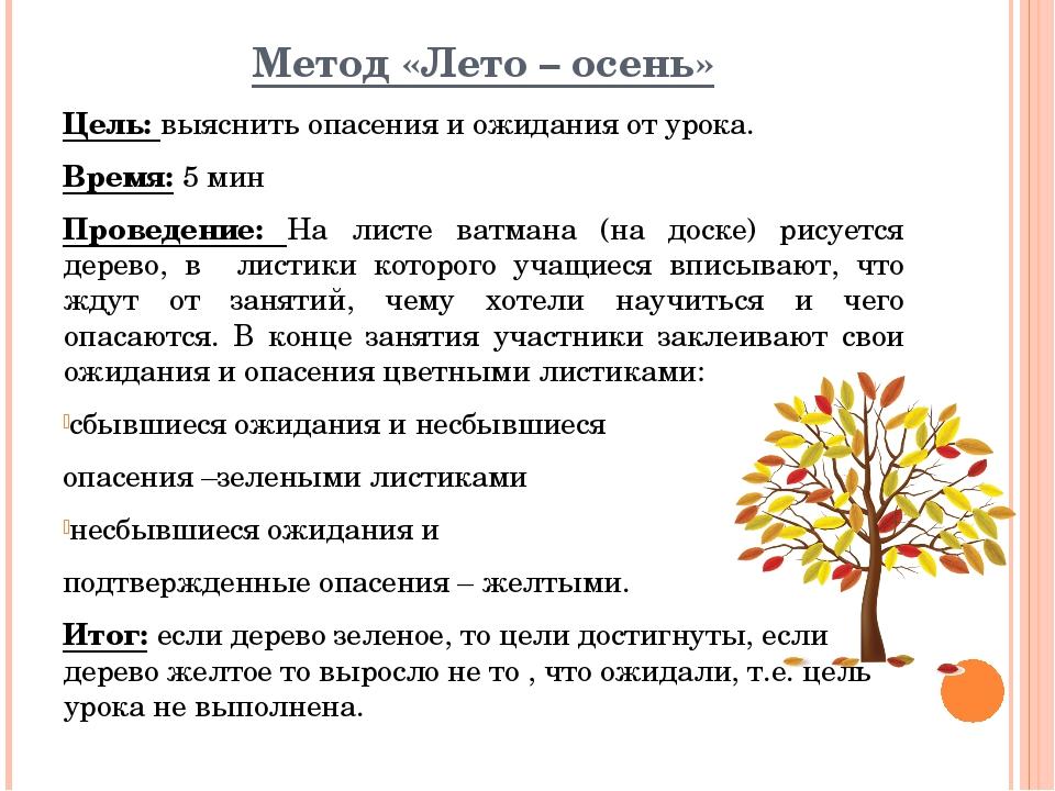 Метод «Лето – осень» Цель: выяснить опасения и ожидания от урока. Время: 5 ми...