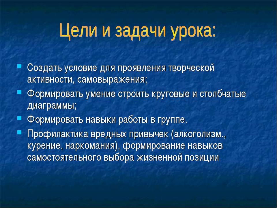Создать условие для проявления творческой активности, самовыражения; Формиров...