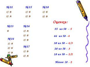 № 22 В А № 23 Б № 24 А Б В № 25 Б В № 26 А Б В № 27 В А № 28 Б В 55 из 58 -