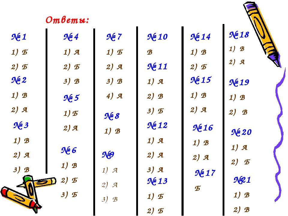 Ответы: № 1 Б Б № 2 В А № 3 В А В № 4 А Б В № 5 1) Б 2) А № 6 В Б Б № 7 Б А В...