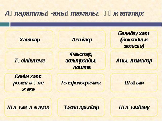 Ақпараттық-анықтамалық құжаттар: Түсініктеме Баяндау хат (докладные записки)...