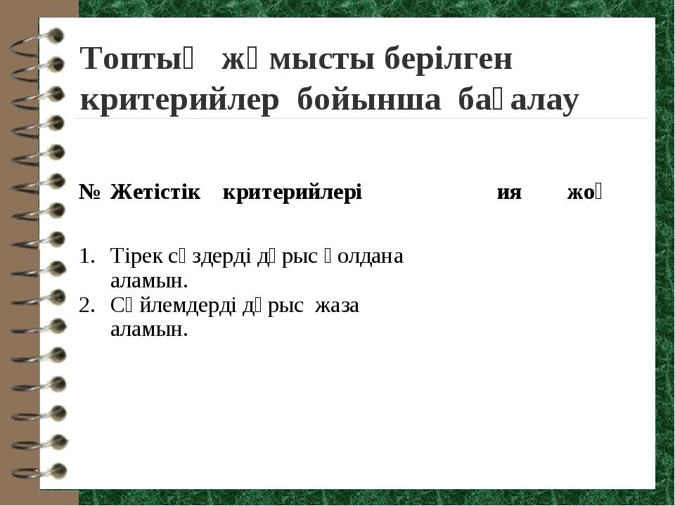 Топтық жұмысты берілген критерийлер бойынша бағалау № Жетістік критерийлері...