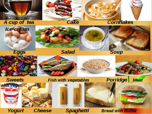 A cup of tea Cake Cornflakes Ice-cream Eggs Salad Soup Toasts Sweets Fish wi...