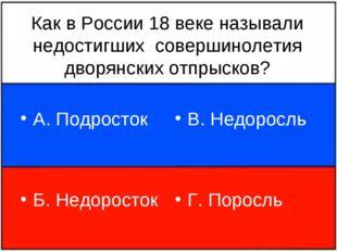 Как в России 18 веке называли недостигших совершинолетия дворянских отпрысков