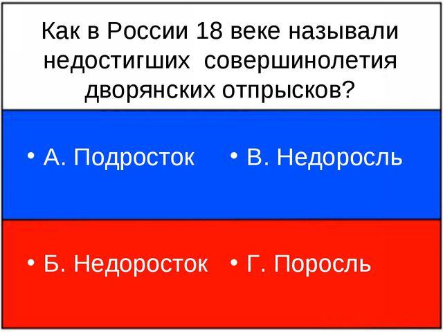 Как в России 18 веке называли недостигших совершинолетия дворянских отпрысков...