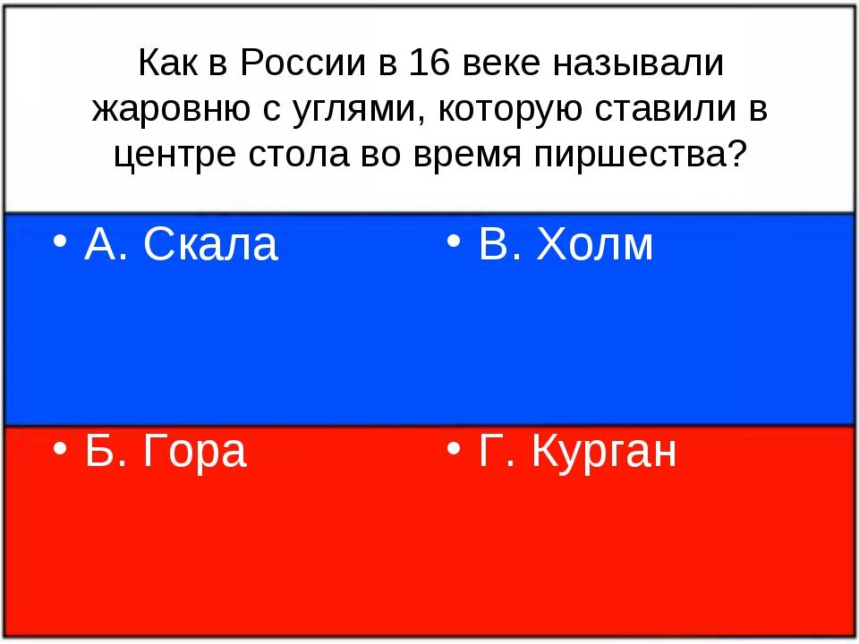Как в России в 16 веке называли жаровню с углями, которую ставили в центре ст...