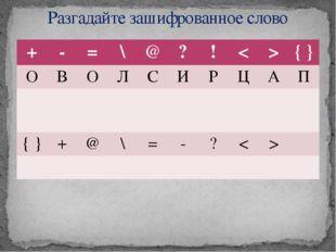 Разгадайте зашифрованное слово + - = \ @ ? ! < > { } О В О Л С И Р Ц А П { }